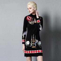 4de77e1c484cb6 Royal Stickerei Blume Pullover Pullover Frauen Kleid Herbst Winter Runway  Luxus elegante Dame gestrickte Wolle Pullover weiblich S-XL