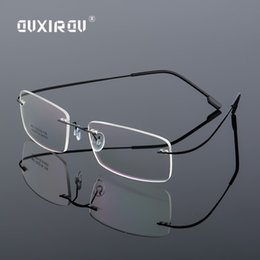f438e55f9 Leve sem aro óculos de armação de titânio liga de memória óculos de mulheres  homens quadrado miopia armações de óculos ópticos marca s867