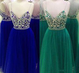 $enCountryForm.capitalKeyWord NZ - 2019 Green Royal Blue Prom Dress With Spaghetti Straps Bling Rhinestone Criss Cross Straps Back Designer Real Photo Evening Formal Dress
