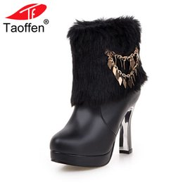 rubber snow chains 2019 - TaoffenSize 33-43 Sexy Female Boots High Heels Winter Boots For Women Warm Fur Shoes Mid Calf Snow With Metal Chain chea