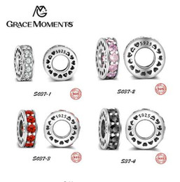 Chinese  GRACE MOMENTS Certified 925 Sterling Silver Beads 4 Colors Crystal Pave Charm CZ Charm Fit Charm Bracelet Girl Authentic Jewelry manufacturers