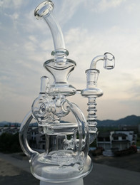 swirl glasses NZ - Bong with 4mm quartz banger glass recycler lot of arm swirl glass recycler mazing vortex water pipes glass bubbler with tyre perc14mm joint