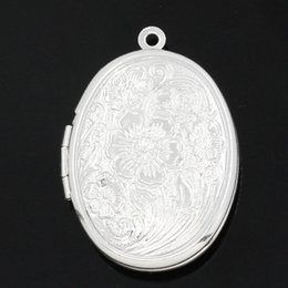 vintage picture pendant UK - 5PCs Charm Pendants Picture Locket Oval Silver Plated 3.3cmx2.4cm Embellishment Base DIY Vintage Jewelry Findings Openable Charm