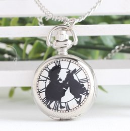 watches designs for girls 2019 - Fashion Lovely Alice in Wonderland Design Round Quartz Pocket Watch With Necklace Chain For Girl Ladies Gift discount wa