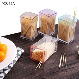 Plastic Toothpick Wholesale Australia - XZJJA Creative Transparent Toothpick Storage Box Eco-Friendly Double Cusp Bamboo Toothpick Disposable Home Restaurant Supplies