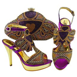$enCountryForm.capitalKeyWord Canada - 50% Discount Free shipping Purple new arrival African ladies shoes and bag to match decorate with rhinestone for sandal