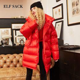 Womens Parkas Australia - ELF SACK New Winter Woman Coat Solid 90% Duck Down Jackets Long Sleeve Warm Womens Outwear Parkas for Women Winter Streetwear