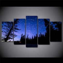 $enCountryForm.capitalKeyWord UK - HD printed 5 Piece Canvas Art Purple Starry Sky Painting Night Forest Wall Pictures for Living Room Free Shipping NY-7375C