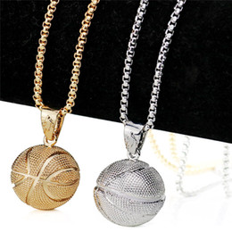 men basketball necklace Canada - Fashion 3D Basketball Pendant Necklace I Love Basketball Sports Charm Jewelry Hiphop Baseball Necklaces for Men Punk Jewelry