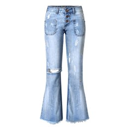 f45d115332e Women Fashion Vintage Low Waist Button Hole Pure Denim Straight Ankle Wide  Leg Pants Loose Style Stretchy Ripped Jeans Light