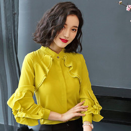 d80a5f65bd2 2019 New Elegant Autumn Tops Women Long Sleeve Ruffle Blouse Work Wear  Office Shirts Plus Size Chiffon Blusas Mujer Moda