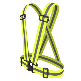 Cycling Dhl 100pcs Unisex Outdoor Cycling Safety Vest Bike Ribbon Bicycle Light Reflecing Elastic Harness For Night Riding Running Bicycle Light