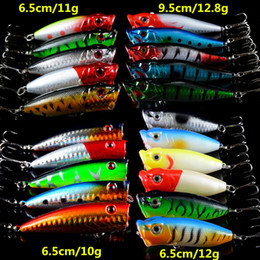 bait making NZ - Hot 21pcs lot Fishing Lures Lifelike Hard Baits Artificial Make Bass Crankbait Fishing Tackle Mixed 4 Model Popper Bait