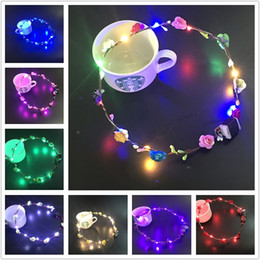 Discount white flower girl wreaths - Flashing LED strings Glow Flower Crown Headbands Light Party Rave Floral Hair Garland Luminous Wreath Wedding Flower Gir