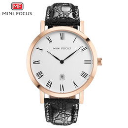 China MINIFOCUS Fashion Ultra-thin Dial Wristwatch Brand Genuine Leather Business Men's Quartz Date Display Men Wrist Watch cheap ultra thin gold watches leather suppliers