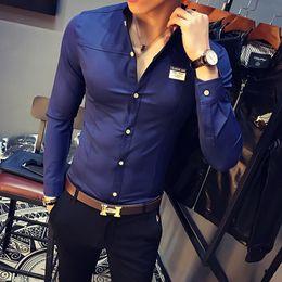 88387e52711 Korean Slim Fit Shirt Men Brand Designer Fashion Tuxedo Shirts Mens Dress  Spring Stand Collar Long Sleeve Social Shirts Male 5XL