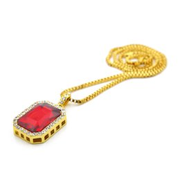 Gold necklace boxes pearls online shopping - Wholesales Mens Colos Hip Hop Choker Iced Out Chain Faux Gemstone Pendants Bling Gold Chains inch Box Twist Links Necklaces