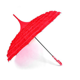 $enCountryForm.capitalKeyWord Australia - 10Pcs Princess Royal Sun Umbrella Lady Pagoda Fancy Lace Sunshade Parasol Straight Long Handle Wedding Party Decoration