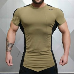 Sleeved gym ShirtS online shopping - Mens Tight Fitting Short Sleeved T shirt Fitness Organization Body Engineer Fitness Gyms Fitness Splicing Cotton T shirt