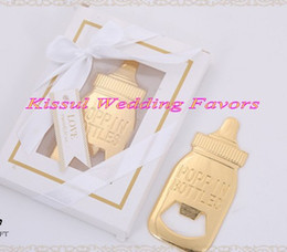 $enCountryForm.capitalKeyWord NZ - (20 Pieces lot) baby souvenirs of Baby bottle shaped bottle opener for baby birthday gift and gold themed the Party shower favors