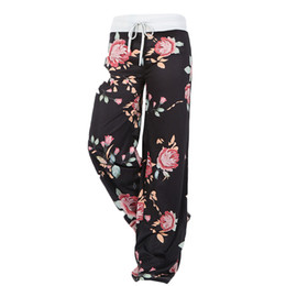 $enCountryForm.capitalKeyWord UK - High Waisted Yoga Loose Baggy Long Pants Floral Printed Trousers for Women - Size S(Black)