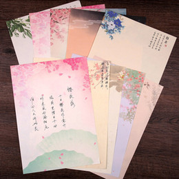 China 8 sheets set Chinese Style Paper Envelopes Vintage Flowers Decoration Writing Paper Letter For Students Office School Stationery supplier flower for decoration wholesale suppliers