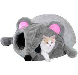 China Mouse Shape Bed For Small Pet Cats Dogs Cave Bed Removable Cushion Waterproof Bottom Cat House Mouse For Cats cheap cave beds suppliers