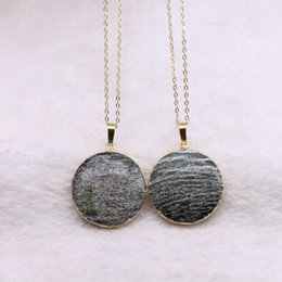 """Mexican Link Chain NZ - 10 Strands Natural Stone Round Pendant Necklace Druzy Round Beads Link Chain Necklaces Gems Jewelry for Women 18"""" Wholesale"""