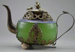 jade pots UK - Collectible Old Handwork Green Jade & Tibet Silver Dragon Tea Pot Monkey Lid