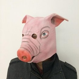 scary cosplay Canada - 1Pcs Halloween Scary Latex Pig Head Masks Realistic With Hair For Party Cosplay Costume Masquerade Festival Props Supplies