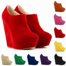 $enCountryForm.capitalKeyWord NZ - Spring Autumn Flock Platform Ankle Boots For Women Height Increasing Ladies High Heels Boots Wedges Cotton Fabric Zip BX6987