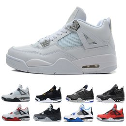 black cat boots 2019 - 2019 4s Military Blue CAVS White Cement Basketball Shoes for men New Thunder oreo Pure Money Black Cat mens trainers Spo