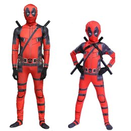 Superhero Full Body Suits Australia - Halloween Marvel Deadpool jumpsuit Superhero Deadpool Full Body Cosplay suit Adult Children Superhero Deadpool Zentai Bodysuit