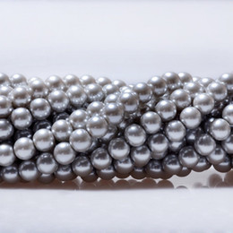 6mm pearls acrylic UK - Silver Gray Glass Pearl Round Loose Beads FIT FOR BRACELET NECKLACE JEWELRY MAKING 4mm 6mm 8mm 10mm