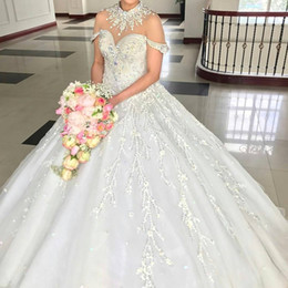 High Collar Ball Wedding Dress Canada - Luxury High Neck Wedding Dresses Crystal Beads Applique See Through Short Sleeves Bridal Dress Sparkly Fashion Tulle Ball Gown Wedding Dress