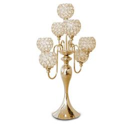 Livraison gratuite H69cm cristal de mariage table maîtresse lustre en cristal 7 têtes bougeoir de mariage décoration de mariage approvisionnement de banquet
