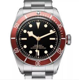 Tudorrr Brand Mens Watch Movimiento automático de acero inoxidable mecánico bisel rojo Dial negro ROTOR MONTRES sólido cierre Geneve relojes reloj