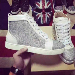 flat bottomed white sneakers 2018 - Designer Casual Shoes Women Men Sneakers Spikes Flats shoes Red Bottom Shoes For Men and Women Party Lovers Genuine Leat