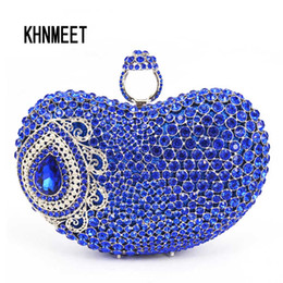 Hollow Fingers Australia - 2017 Finger Ring Evening Bag Royal Blue Luxury Crystal Bridal Party Purse Diamond Wedding Bag Rhinestone Box Clutch SC428