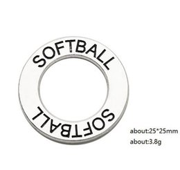 $enCountryForm.capitalKeyWord NZ - SOFTBALL sport charms words engraved metal alloy circle pendant diy necklace or bracelet sports fans jewelry