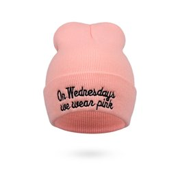 3661015a8a5 on wednesdays we wear pink hat hiphop Knitted Cap Autumn Winter Men Cotton Warm  Hat Solid Color Hip-Hop Wool Hats 10pcs CNY757