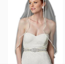 Discount rhinestone cheap wedding belt - Best Selling Crystals Beaded Wedding Sash Ivory White Satin Sparkling Long Beads Bridal Belts Handmade Very Cheap Sash F