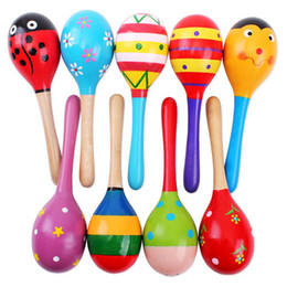 Discount baby musical instrument - Colorful Kids Wooden Ball Rattle Toy Sand Hammer Rattle Learning Musical Instrument Percussion for Baby 0-12 Month
