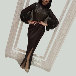 Chinese  Sexy Black Beaded Pearls Arabic Prom Dresses Long 2019 Illusion Full Sleeves Crystals Formal Party Gowns 2018 High Leg Split Evening Dresses manufacturers