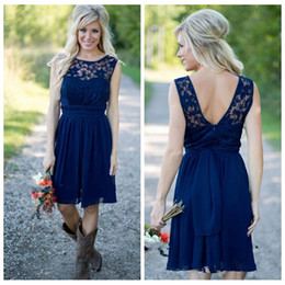 China 2018 Dark Blue Lace Top Short Chiffon Bridesmaids Dresses Knee Length Sleeveless Formal Vestidos De Junior Bridesmaid Party Gowns Cheap supplier junior bridesmaid dress lace top suppliers