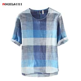 ce1ce264c7a Discount flax linen clothing - New 2018 summer Shirt men cotton linen Loose  half Shirt for