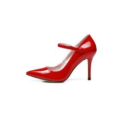 ladies thin red belt UK - New pointed toe women sandals one belt shallow ladies shoes geninue leather sexy thin high heels elegant outwear summer red