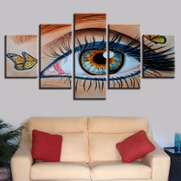 cartoon butterfly pictures NZ - HD Printed Pictures Living Room Wall Art 5 Pieces Beautiful Butterfly Eye Paintings Home Decor Modular Abstract Poster Framework