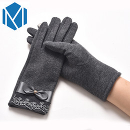 elegant winter gloves 2019 - Elegant Women Gloves 2017 Fashion Winter Autumn Phone Touching Screen Warm Full Finger Mittens Flower Lace Female Guante
