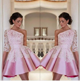 sheath one sleeve homecoming dresses NZ - One Shoulder Satin A Line Homecoming Dresses 2018 Elegant Pink Lace Applique Short Party Prom Evening Dresses BA2921 Custom
